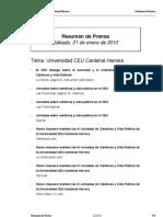 Resumen Prensa CEU-UCH 21-01-2012