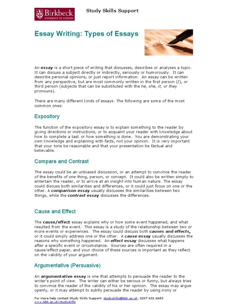 Essay Writing Types of Essays | Essays | Causality