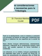 Consideraciones teóricas en Tribología