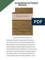 Thus Spake Zarathustra by Friedrich Nietzsche - God Died Now We Want The `Ûbermensch To Live
