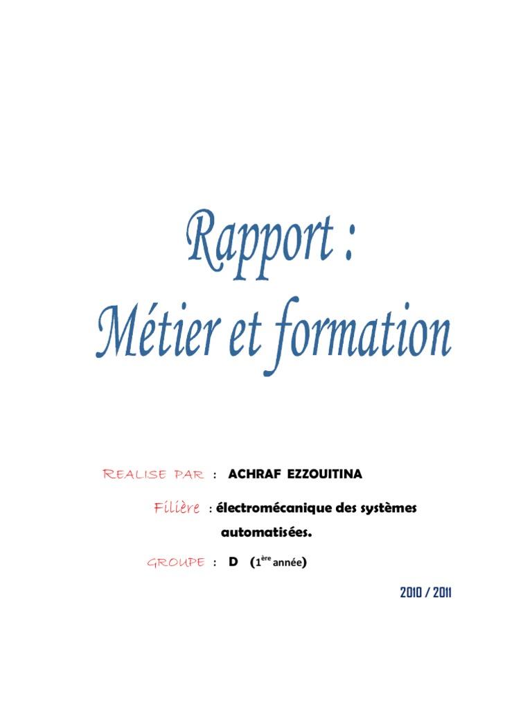 Rapport m tier et formation