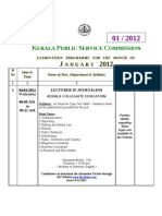 Kerala PSC Exams Timetable - January 2012
