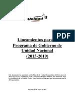 Lineamientos para el Programa de Gobierno de Unidad Nacional (2013-2019)