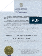 Governor Chris Christie Designates Week of January 22rd, 2012 School Choice Week in New Jersey