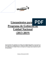 MUD. Lineamientos del Programa de Gobierno de Unidad Nacional (Elecciones 2012)