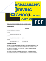Tasmanians Driving School Booking Policy - 4124936