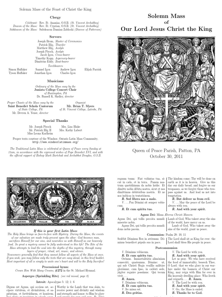 Christ The King 2011 Mass Liturgy Christian Worship And Liturgy