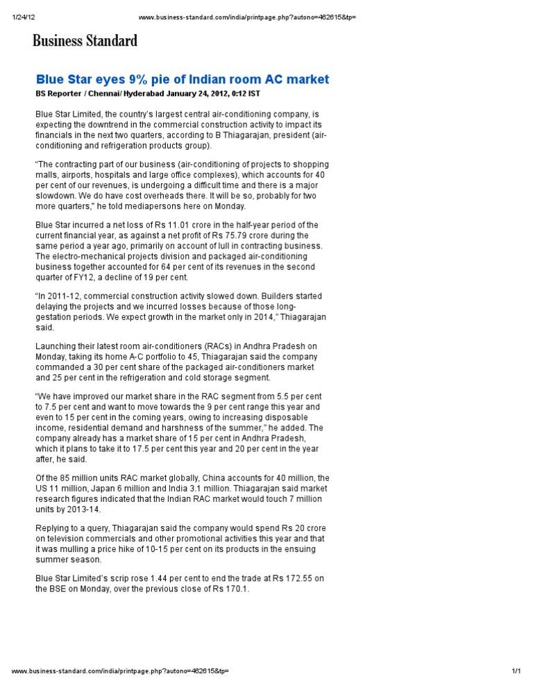 Blue Star Eyes 9% Pie of Indian Room AC Market | Air Conditioning | Economies  sc 1 st  Scribd & Blue Star Eyes 9% Pie of Indian Room AC Market | Air Conditioning ...