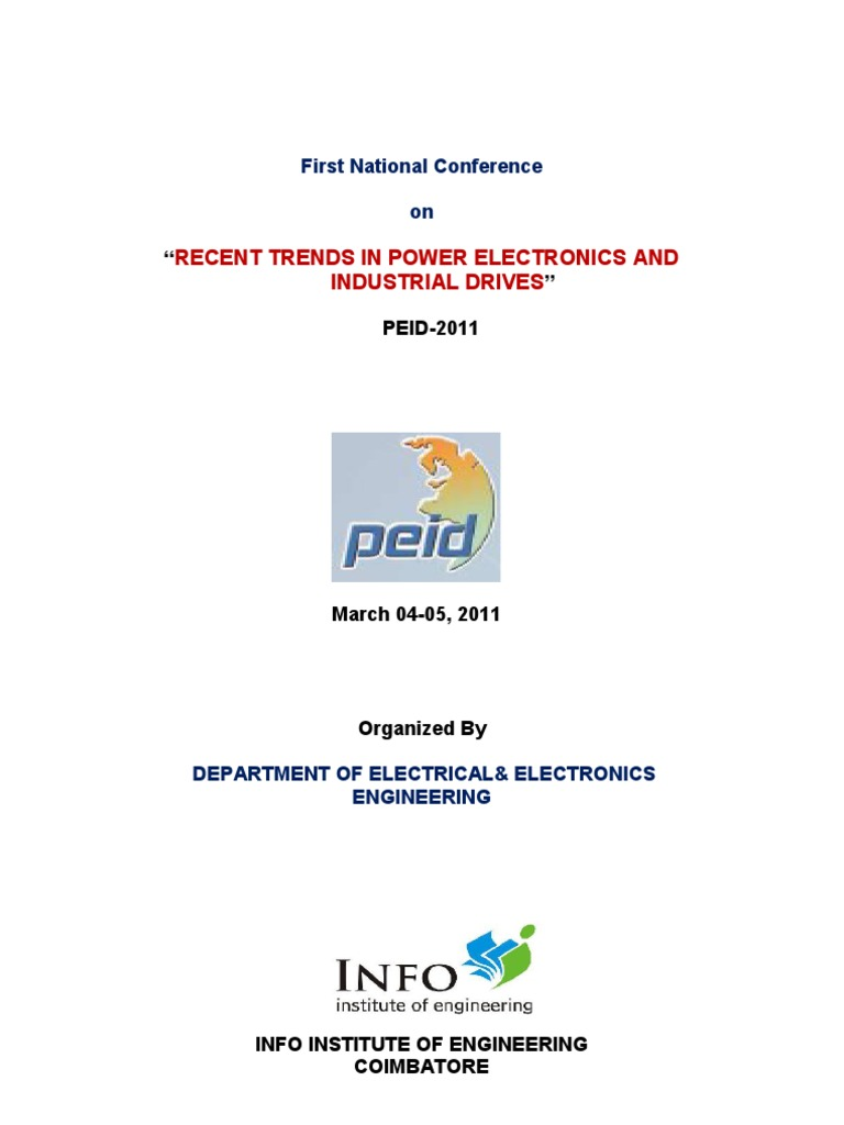 First National Conference On Recent Trends In Power Electronics And Circuit Diagrams 12stage Binary Ripple Counter Hqewnet Industrial Drives Peid 2011 Inverter Direct Current