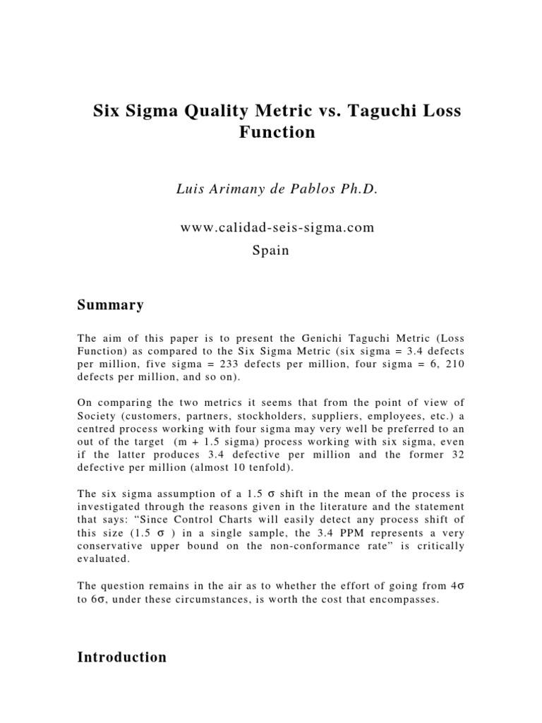 Six sigma vs taguchi six sigma standard deviation sciox Gallery