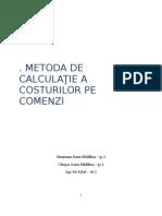 Metoda de Calculatie a Costurilor Pe Comenzi 2003