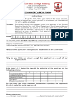 General Elections Recommendation Form