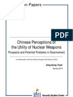 Chinese Perception of the Utility of Nuclear Weapons, Prospects and Potential Problems in Disarmament