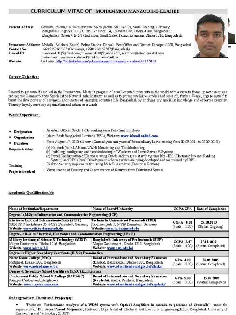 curriculum vitae of mohammod manzoor e elahee telecommunication coherence physics
