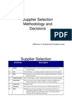Supplier Selection Methodology and Decisions