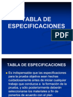Tabla de Especificaciones 1