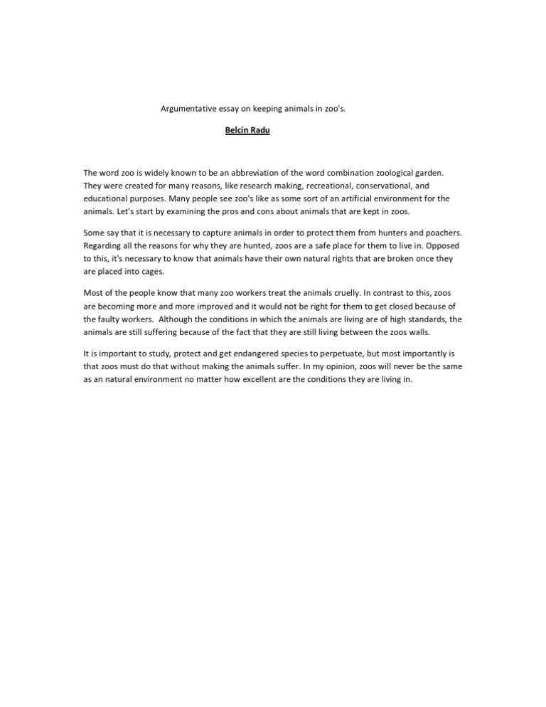 argumentative essay on keeping animals in zoo