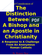 Distinction Between Bishops and Apostles in Christianity