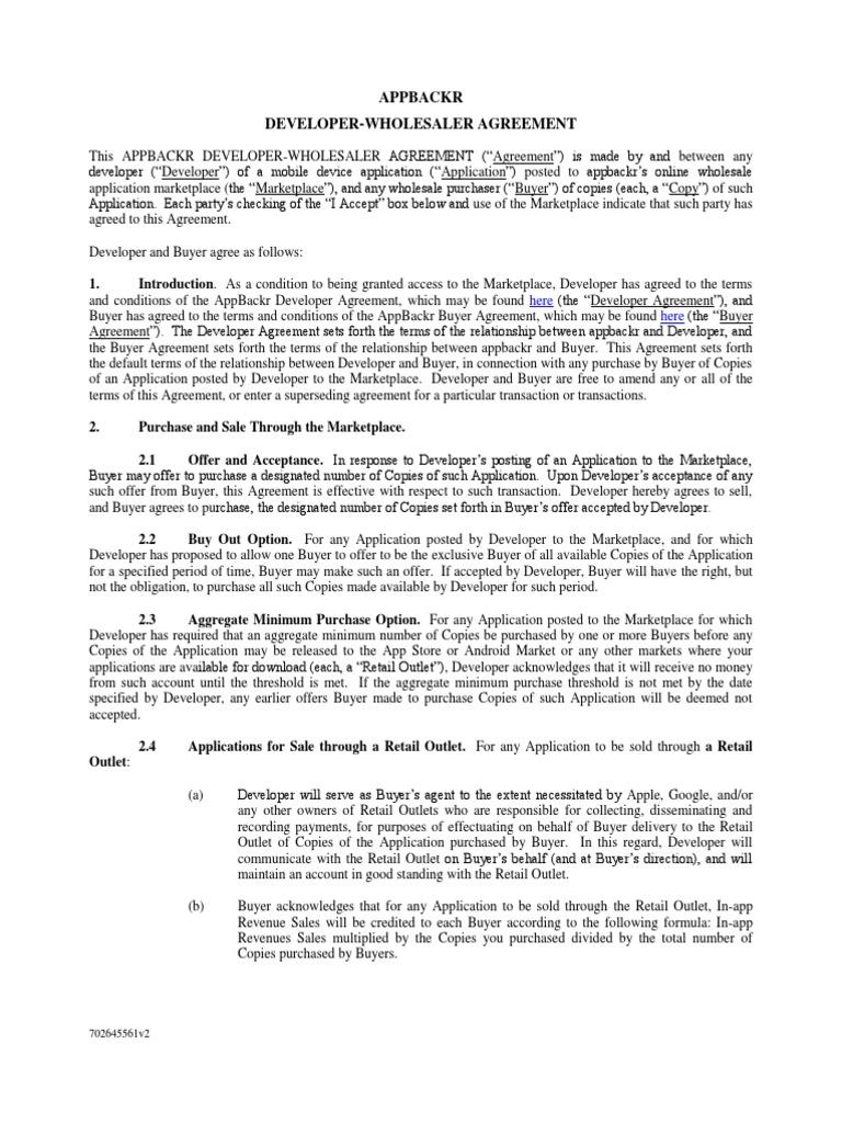 Appbackr Developer Buyer Agreement Simultaneous V12 Indemnity