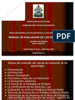 Presentacion Final Manual de Evaluacion de Los Aprendizajes.ppt 10-10-08
