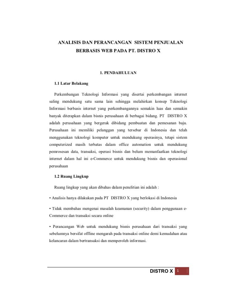 Analisis Dan Perancangan Sistem Penjualan Baju Berbasis Web