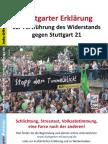 Stuttgarter Erklärung zur Fortführung des Widerstands gegen Stuttgart 21