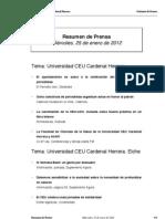 Resumen Prensa CEU-UCH 25-01-2012