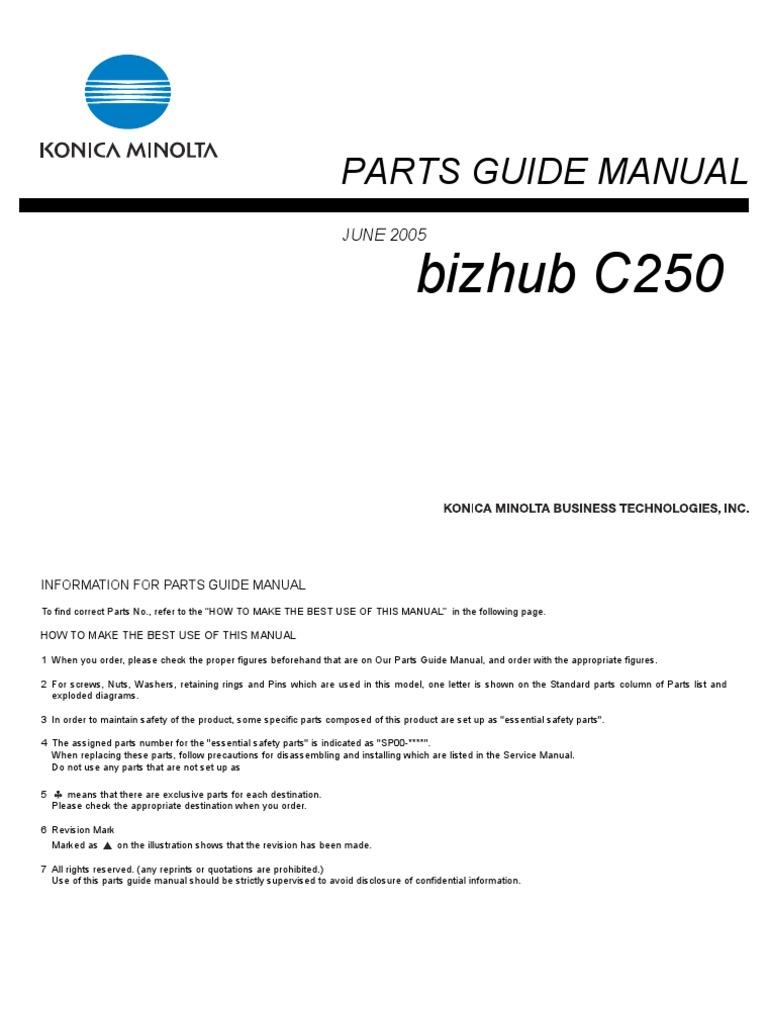 konica minolta parts manual bizhub c250 rh scribd com Bizhub 350 Windows 7 Driver Konica Minolta Bizhub 350 Manual
