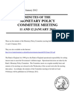 Minutes of the MPC Meeting Held on 11 and 12 January 2012