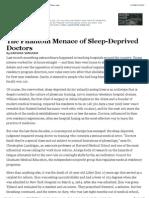 The Phantom Menace of Sleep-Deprived Doctors - NYTimes