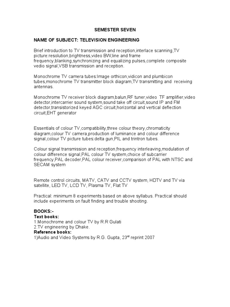 Syllabus Of Frs Tv And Satcomm1 Antenna Radio Television Block Diagram Hdtv
