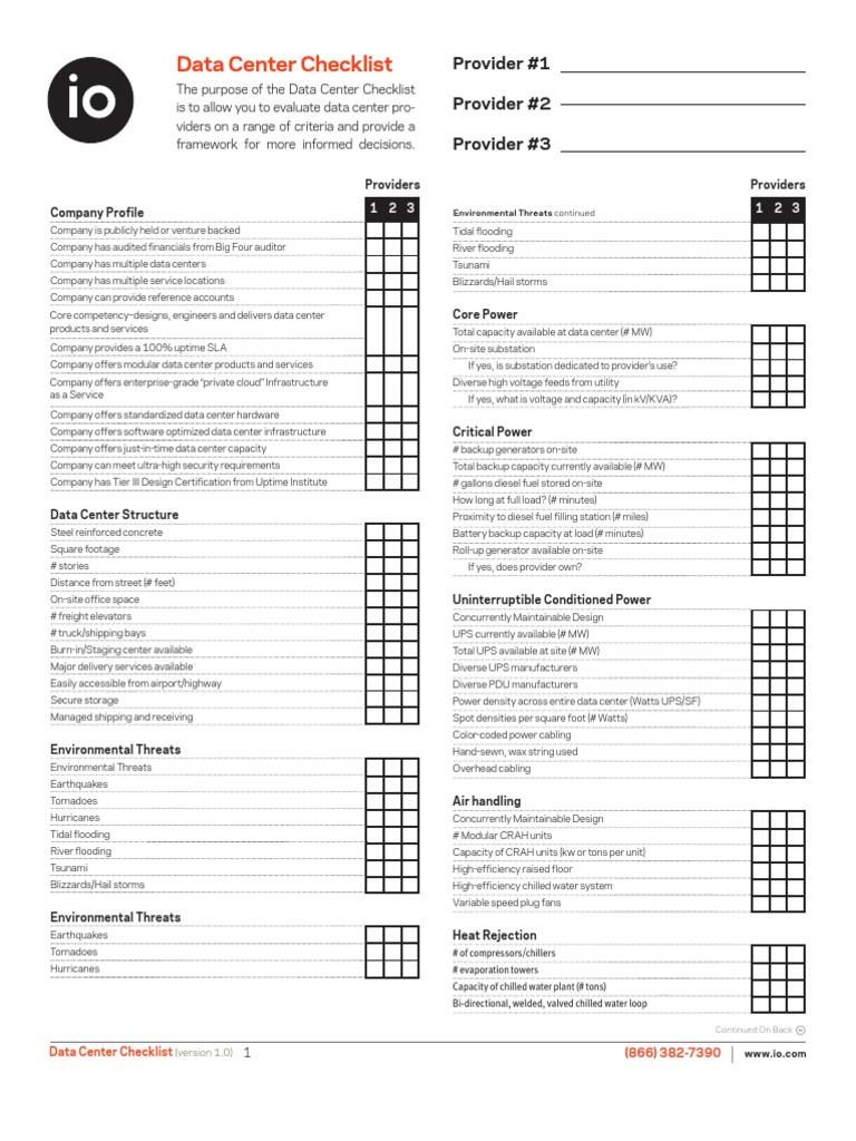 72467969 data center checklist data center electrical engineering xflitez Gallery