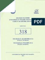 Soal Seleksi Mandiri Universitas Negeri Yogyakarta 2011 (Sm Uny) Tes Bakat Akademk+Bahasa Inggris+Kemampuan Ips