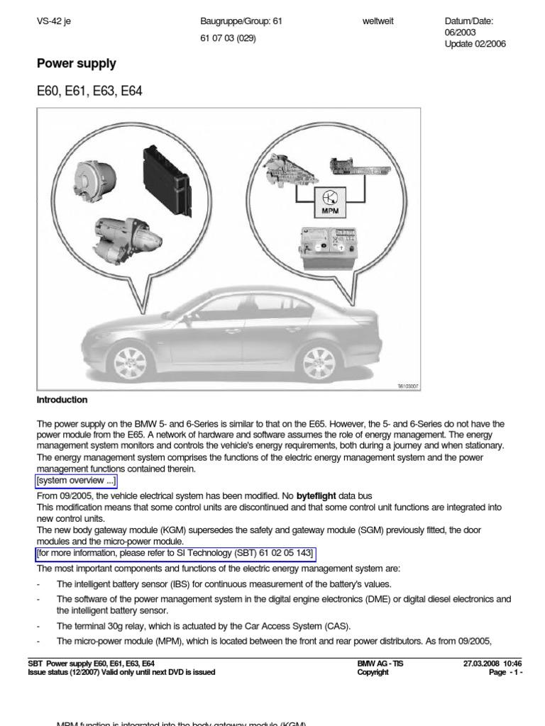 Sistema Electrico y de Carga Bmw e60 | Battery Charger | Battery ...