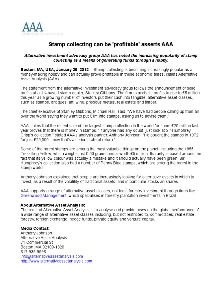 Stamp collecting can be 'profitable' asserts AAA