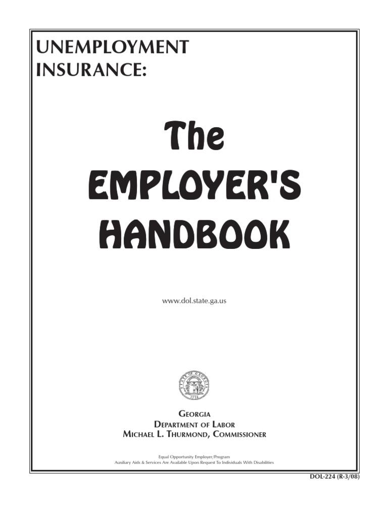 Acc 1152 Dol224 Handbook Unemployment Benefits 501c Organization