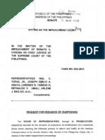 Request for Subpoenae Jan24 P425