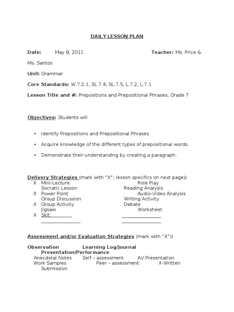 worksheet Prepositional Phrases Worksheets prepositions and prepositional phrases educational assessment lesson plan
