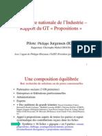 """Conférence nationale de l'Industrie – Rapport du GT """"Propositions"""""""