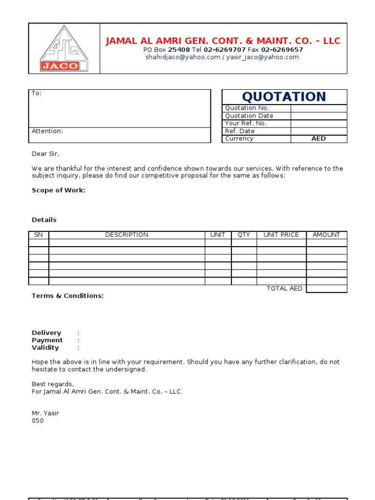 Price Quotation Format – Business Quotation Sample