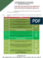 PROGRAMACION DE RECEPCION DE DOCUMENTOS PARA EXPEDIENTE DE NUEVO INGRESO 2012 (F-2)