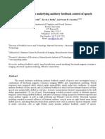 Neural Mechanisms Underlying Auditory Feedback Control of Speech
