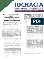Barómetro Legislativo Diario 25 de enero de 2012