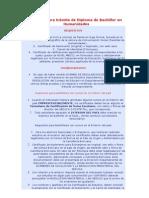 Requisitos para trámite de Diploma de Bachiller en Humanidades