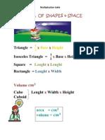 Formula of Shapes