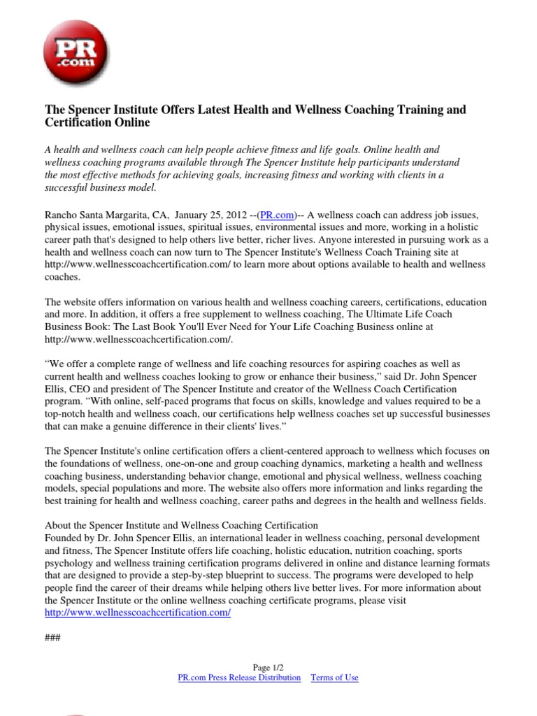 The Spencer Institute Offers Latest Health And Wellness Coaching