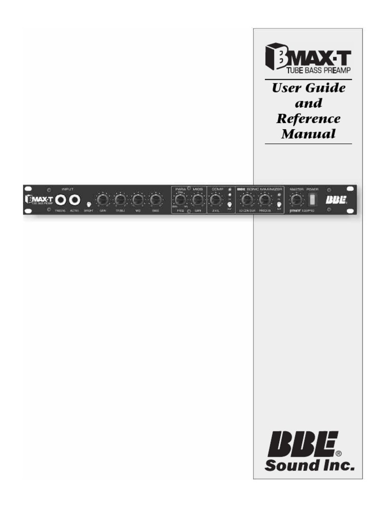 Bbe Bmax T Bass Preamp Manual Rev3 Equalization Audio Graphic Equalizer Using La3600 Electronic Circuits And Diagram Loudspeaker