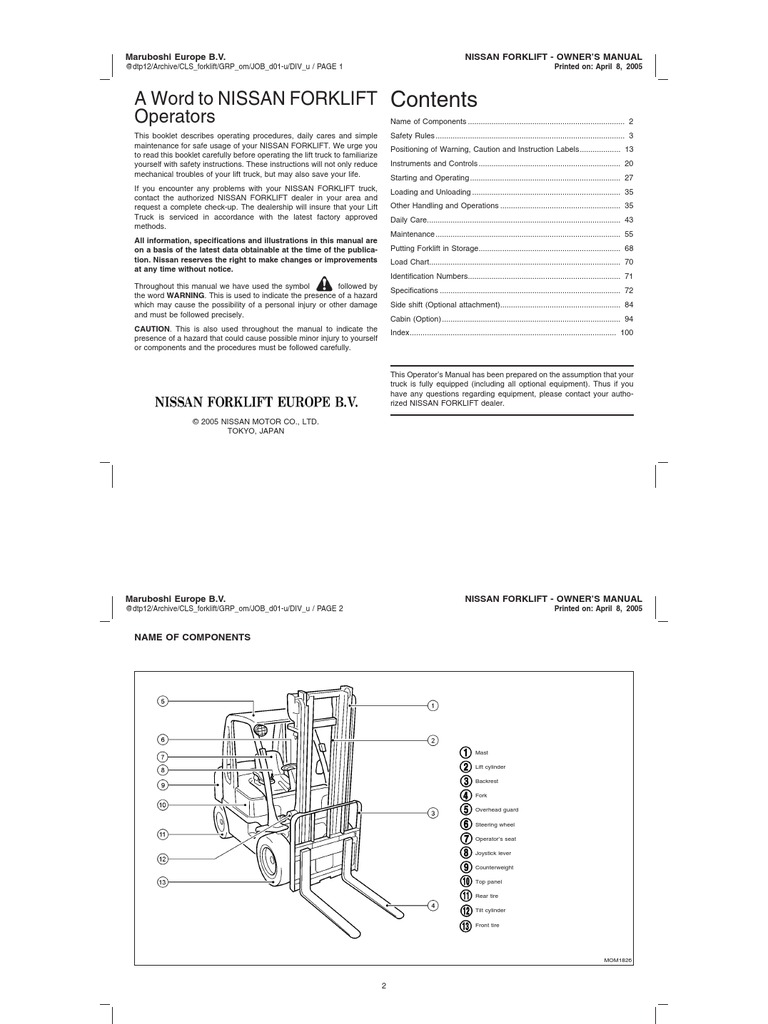 Nissan forklift Error code Manual