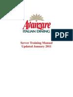 Avanzare Training Manual 2011