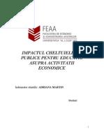 Impactul Cheltuielilor Publice Pentru Educatie Asupra Activitatii Economice